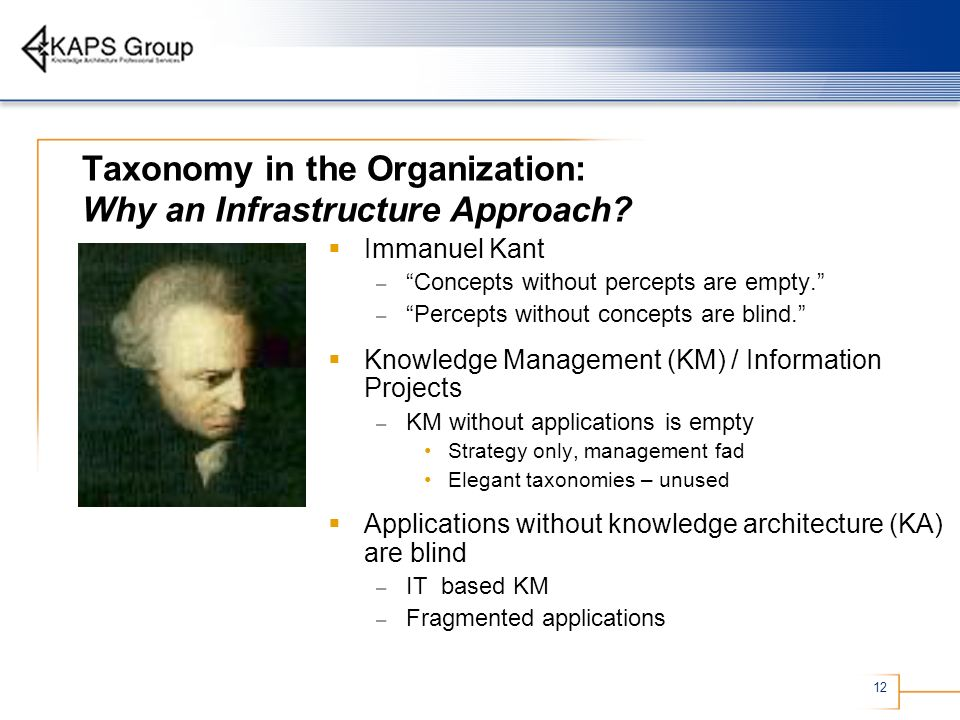 Taxonomy in the Organization: Why an Infrastructure Approach