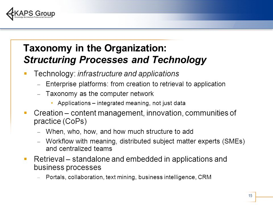 Taxonomy in the Organization: Structuring Processes and Technology