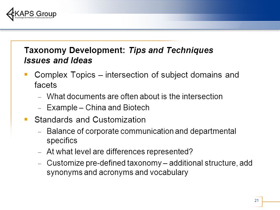 Taxonomy Development: Tips and Techniques Issues and Ideas