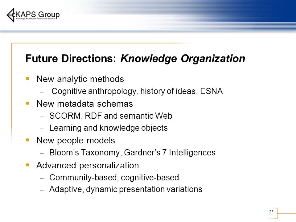 Future Directions: Knowledge Organization