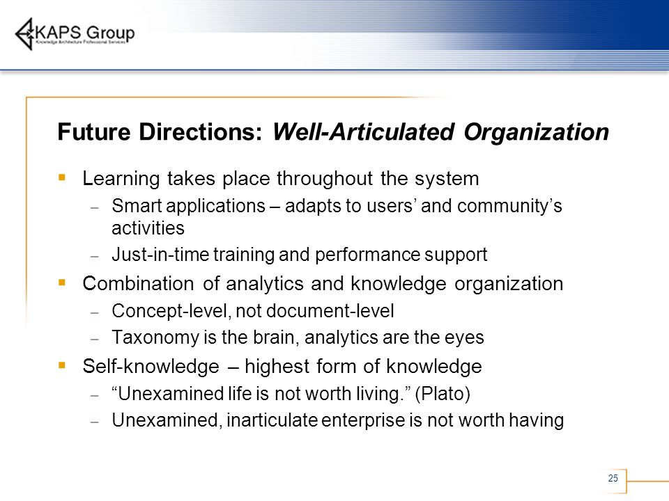 Future Directions: Well-Articulated Organization
