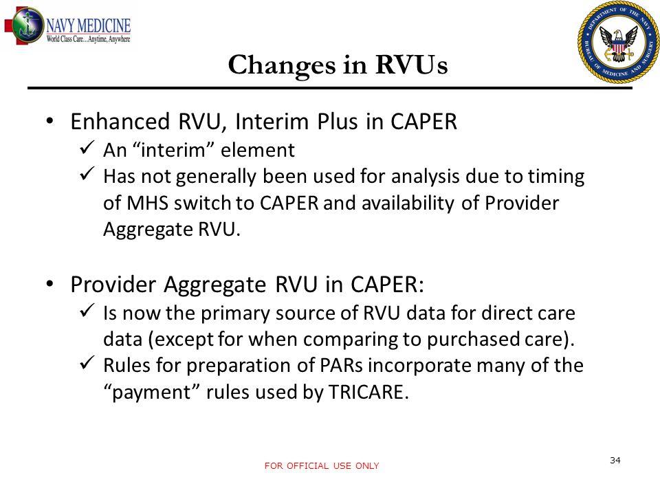 Changes in RVUs Enhanced RVU, Interim Plus in CAPER