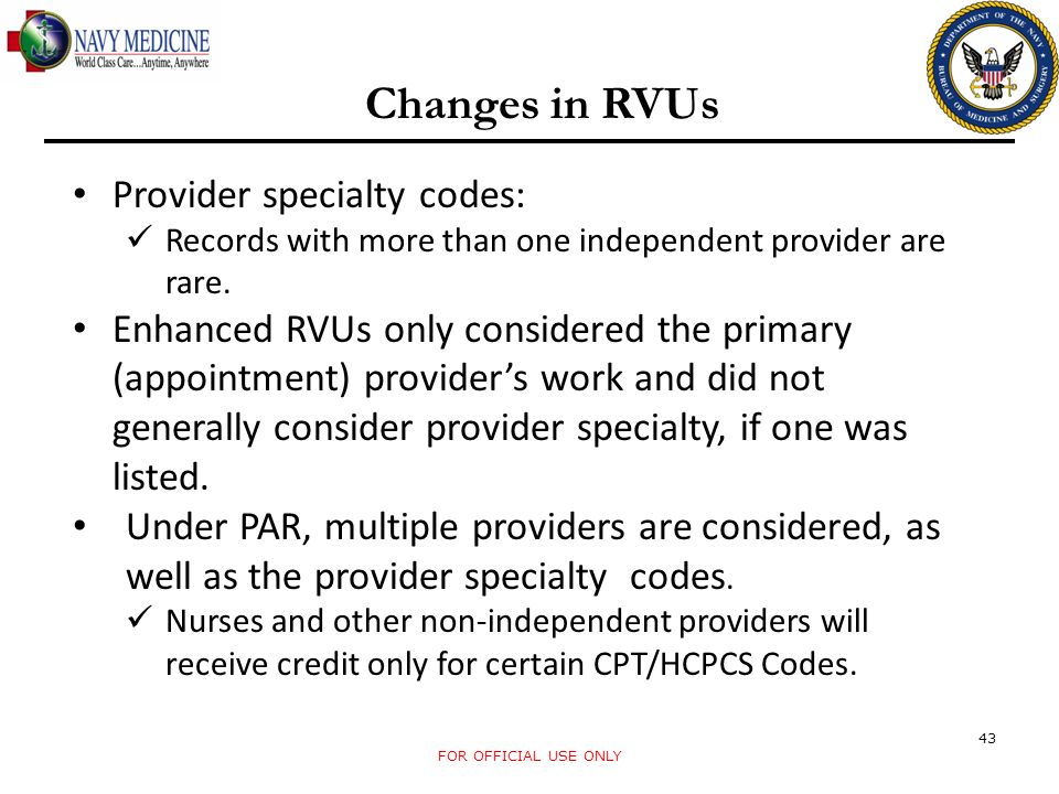 Changes in RVUs Provider specialty codes: