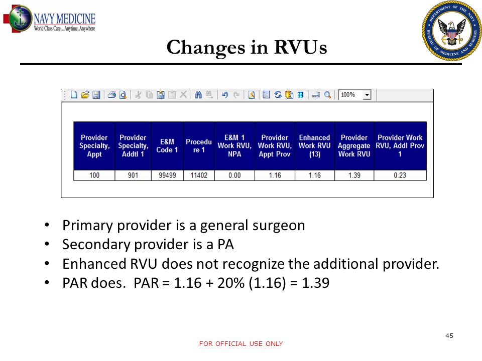 Changes in RVUs Primary provider is a general surgeon