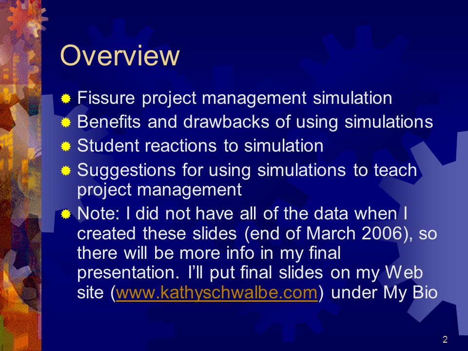 Overview Fissure project management simulation
