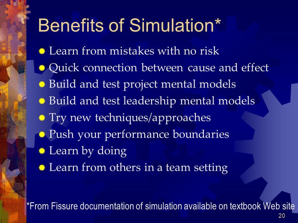 Benefits of Simulation*