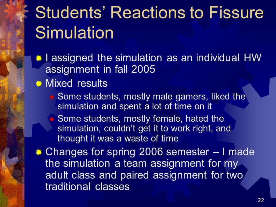 Students' Reactions to Fissure Simulation