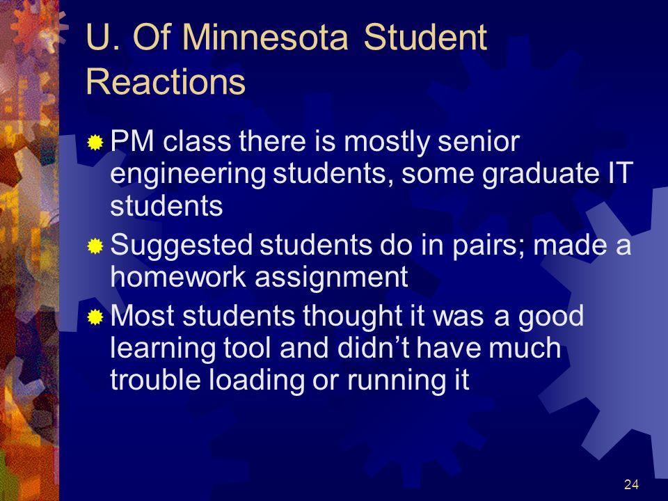 U. Of Minnesota Student Reactions