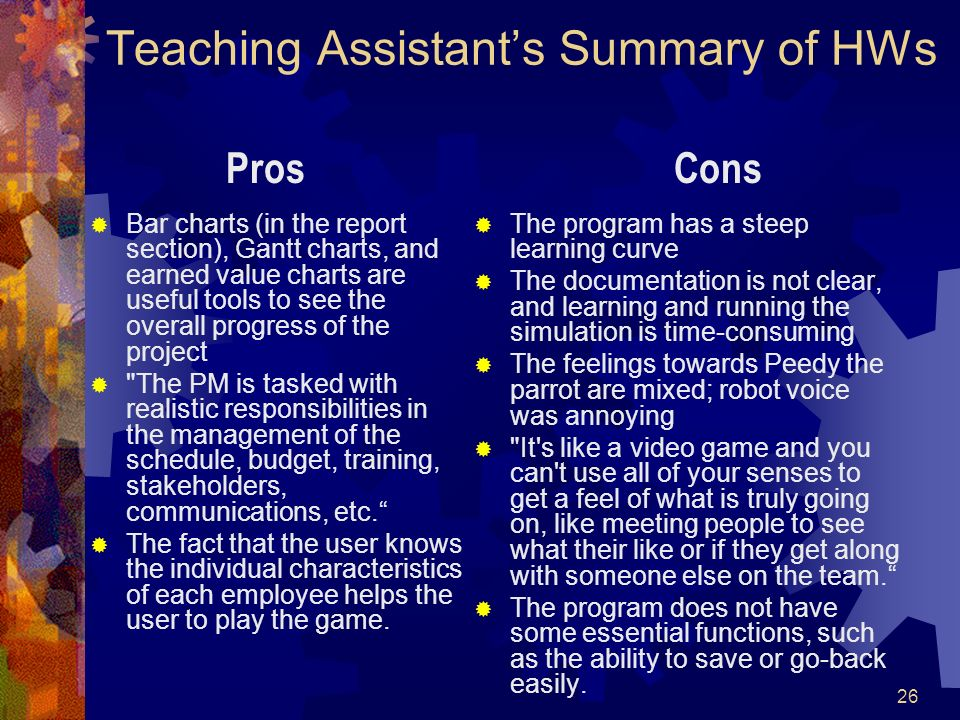 Teaching Assistant's Summary of HWs