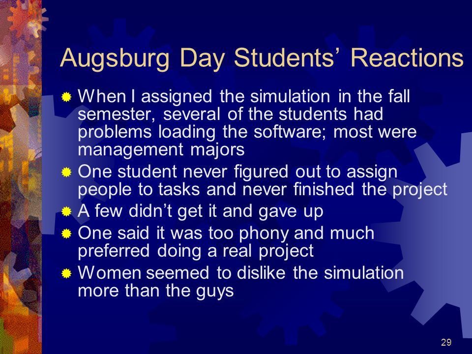 Augsburg Day Students' Reactions