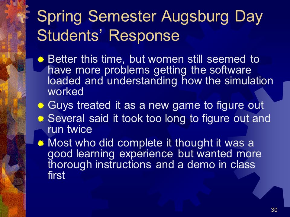 Spring Semester Augsburg Day Students' Response
