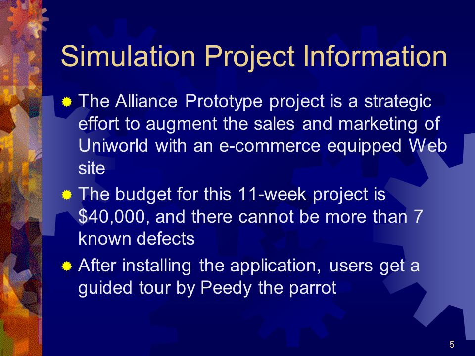 Simulation Project Information
