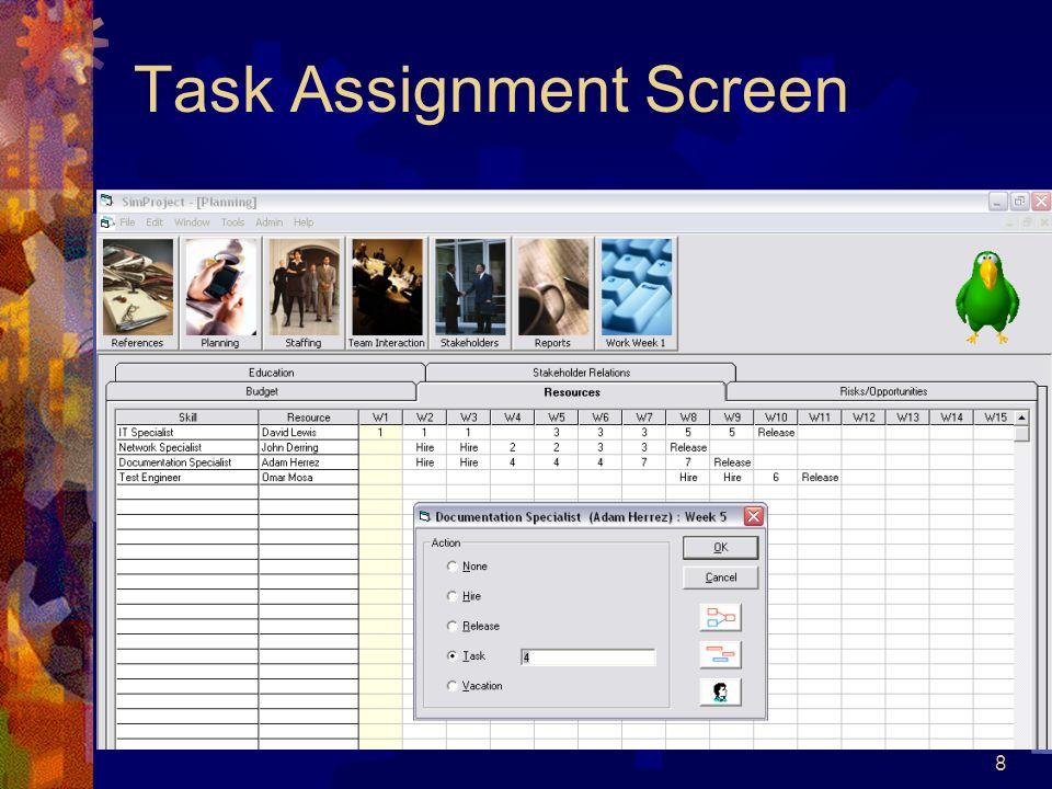 Task Assignment Screen