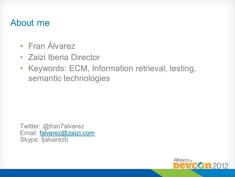 About me Fran Álvarez Zaizi Iberia Director