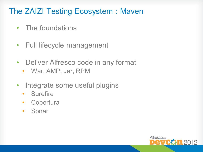 The ZAIZI Testing Ecosystem : Maven