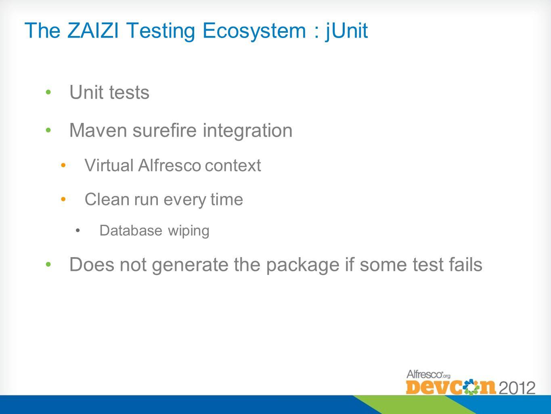 The ZAIZI Testing Ecosystem : jUnit