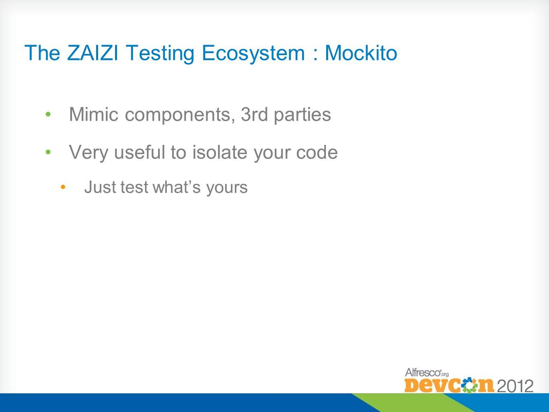 The ZAIZI Testing Ecosystem : Mockito