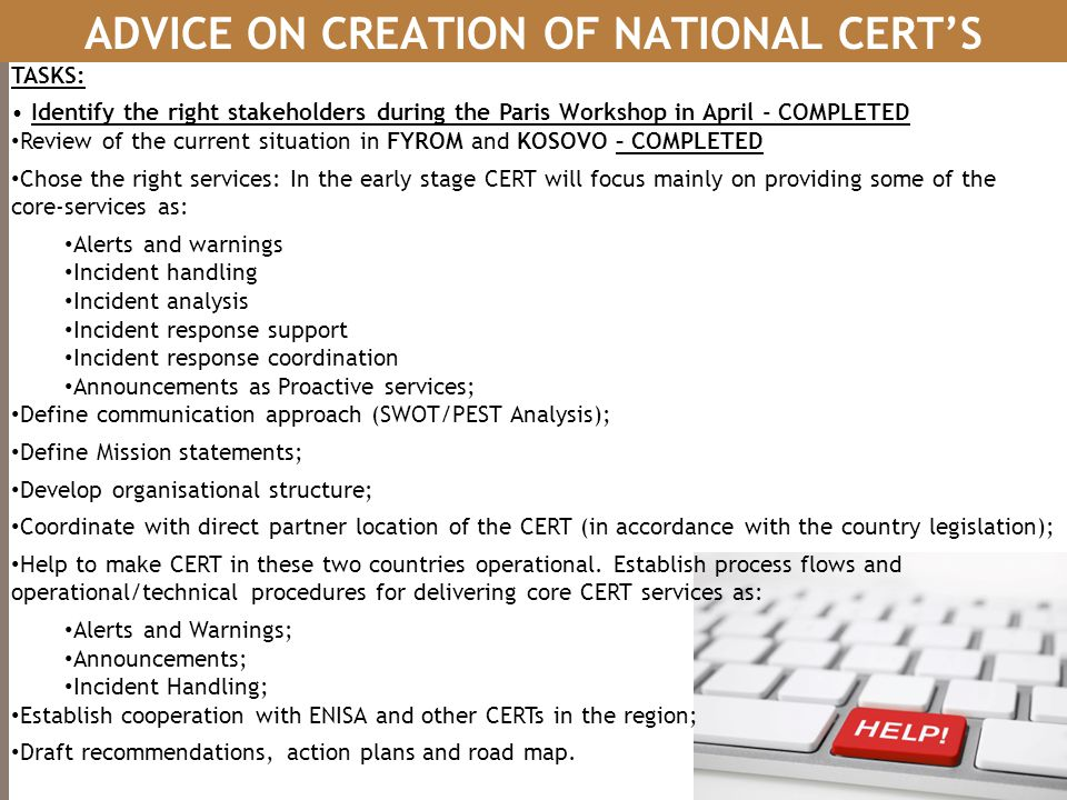ADVICE ON CREATION OF NATIONAL CERT'S