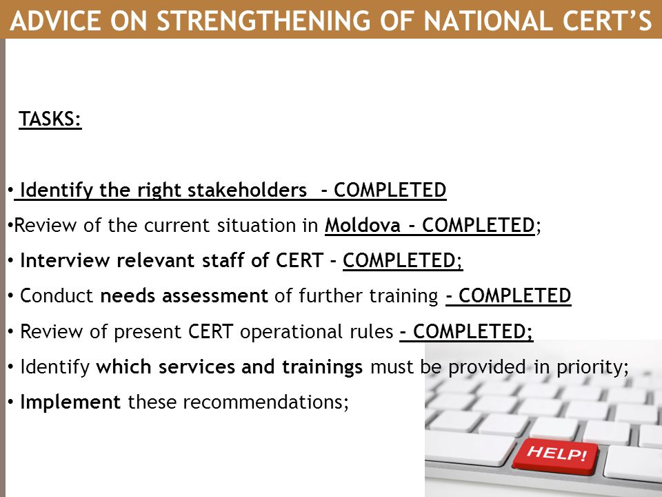 ADVICE ON STRENGTHENING OF NATIONAL CERT'S
