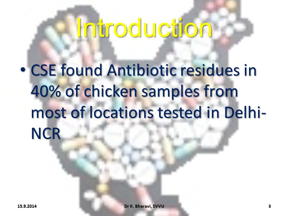 Introduction CSE found Antibiotic residues in 40% of chicken samples from most of locations tested in Delhi-NCR.
