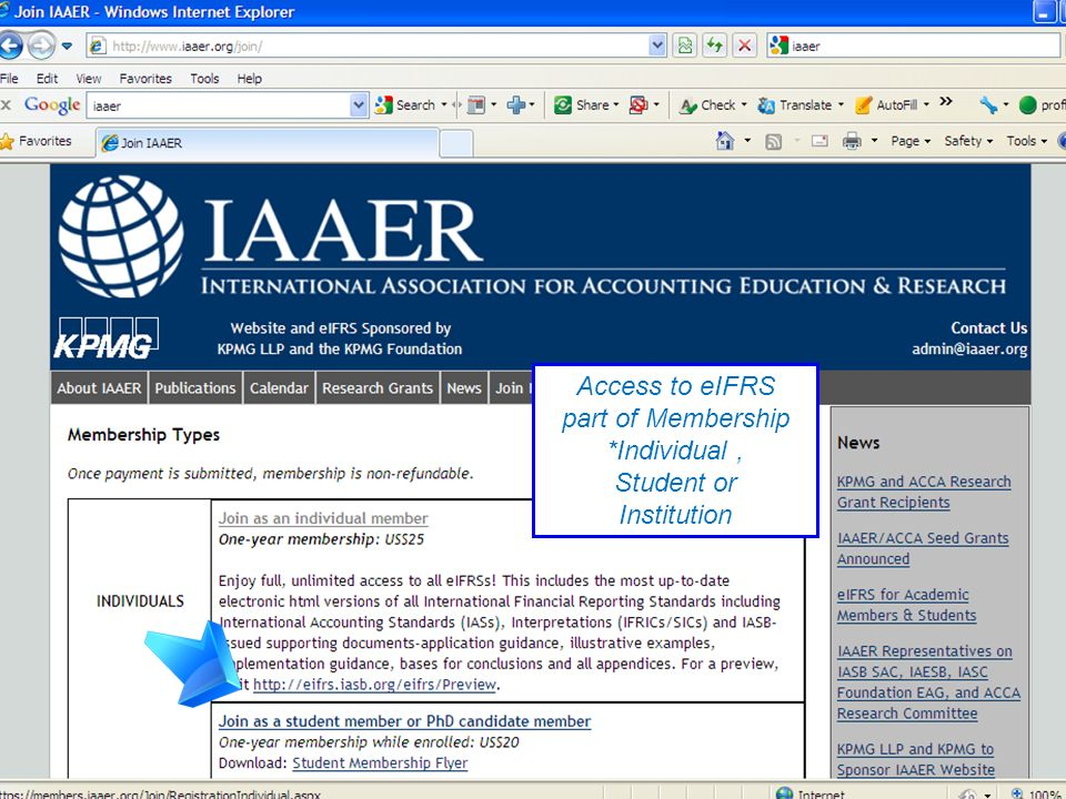 Access to eIFRS part of Membership *Individual , Student or Institution