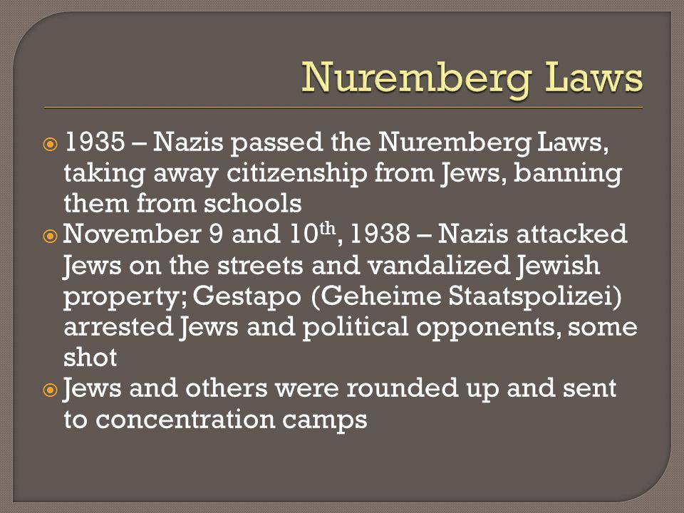 Nuremberg Laws 1935 – Nazis passed the Nuremberg Laws, taking away citizenship from Jews, banning them from schools.