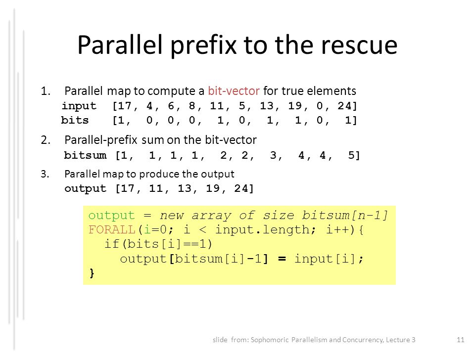 Parallel prefix to the rescue
