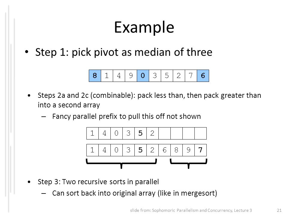 Example Step 1: pick pivot as median of three 8 1 4 9 3 5 2 7 6