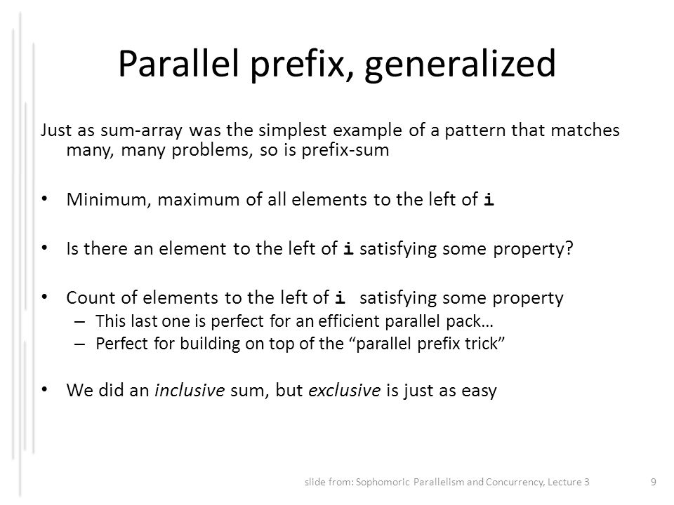 Parallel prefix, generalized