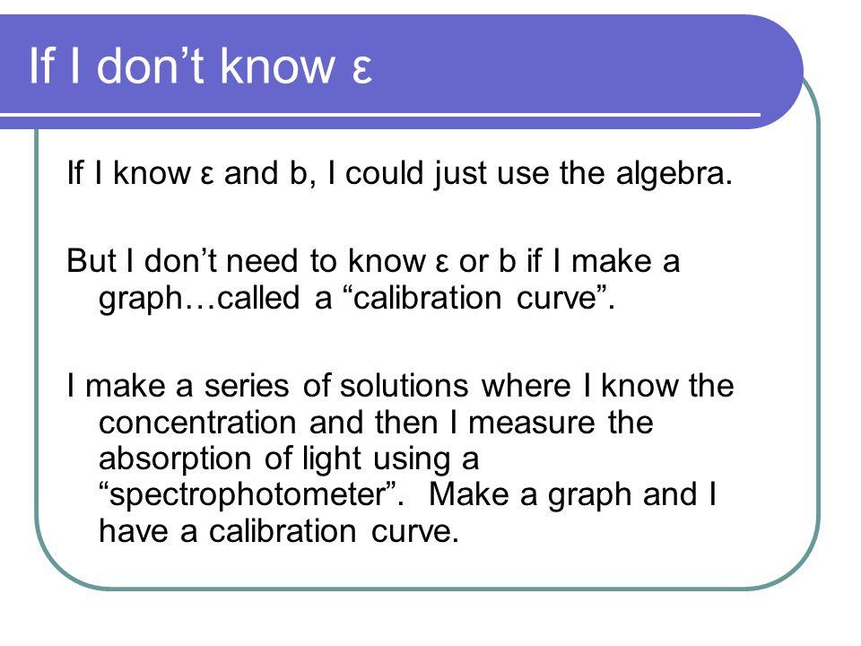 If I don't know ε If I know ε and b, I could just use the algebra.