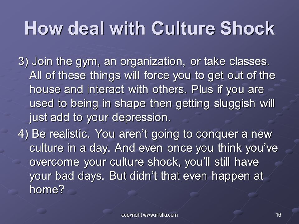 How deal with Culture Shock