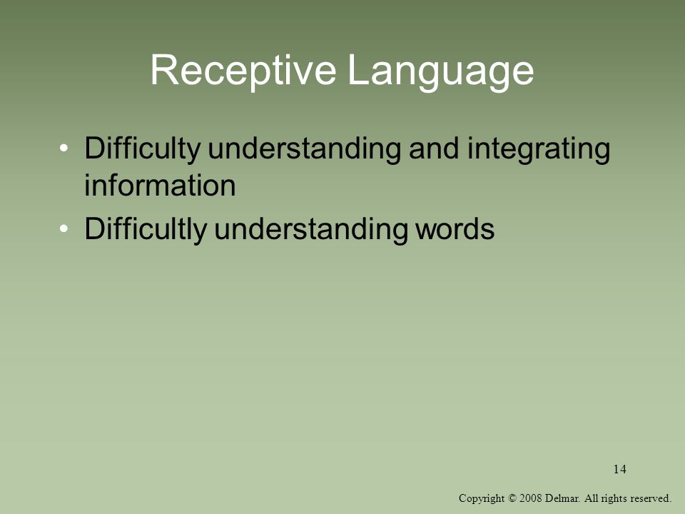 Receptive Language Difficulty understanding and integrating information.