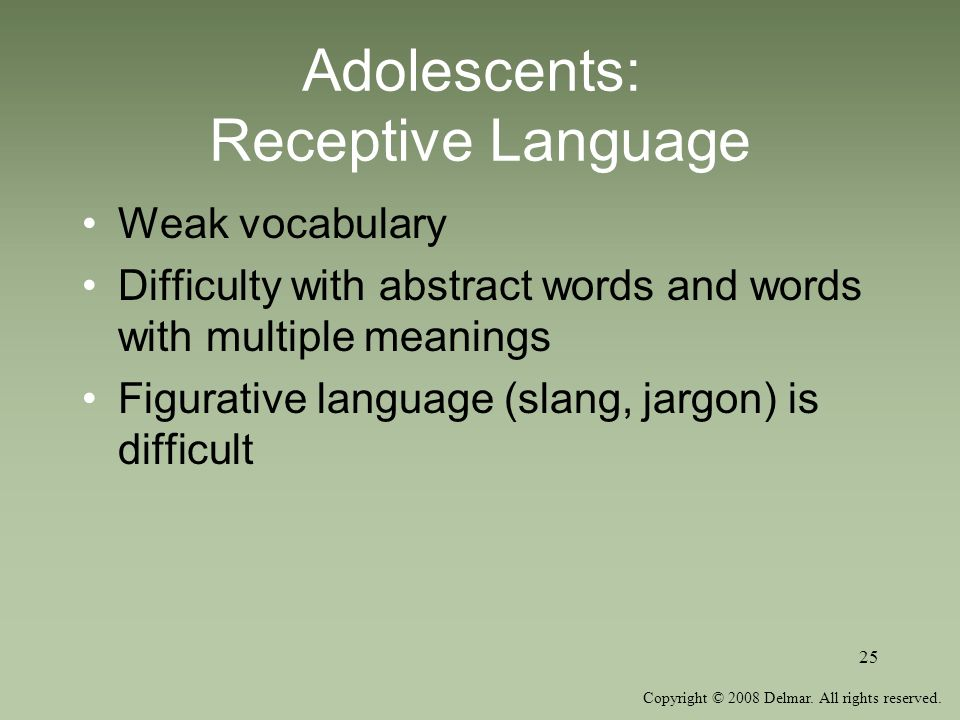 Adolescents: Receptive Language