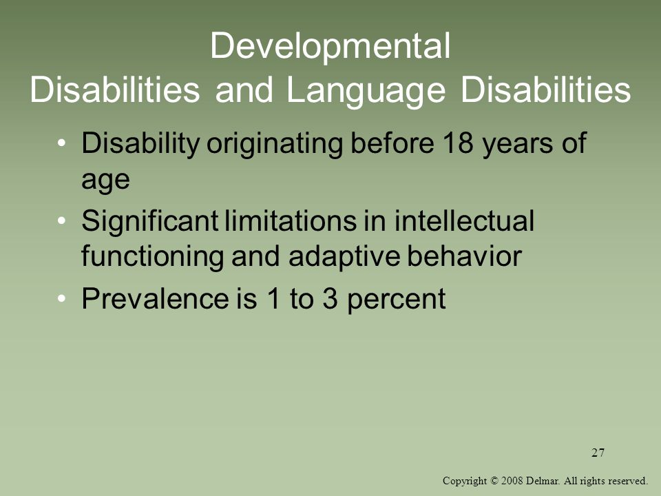 Developmental Disabilities and Language Disabilities