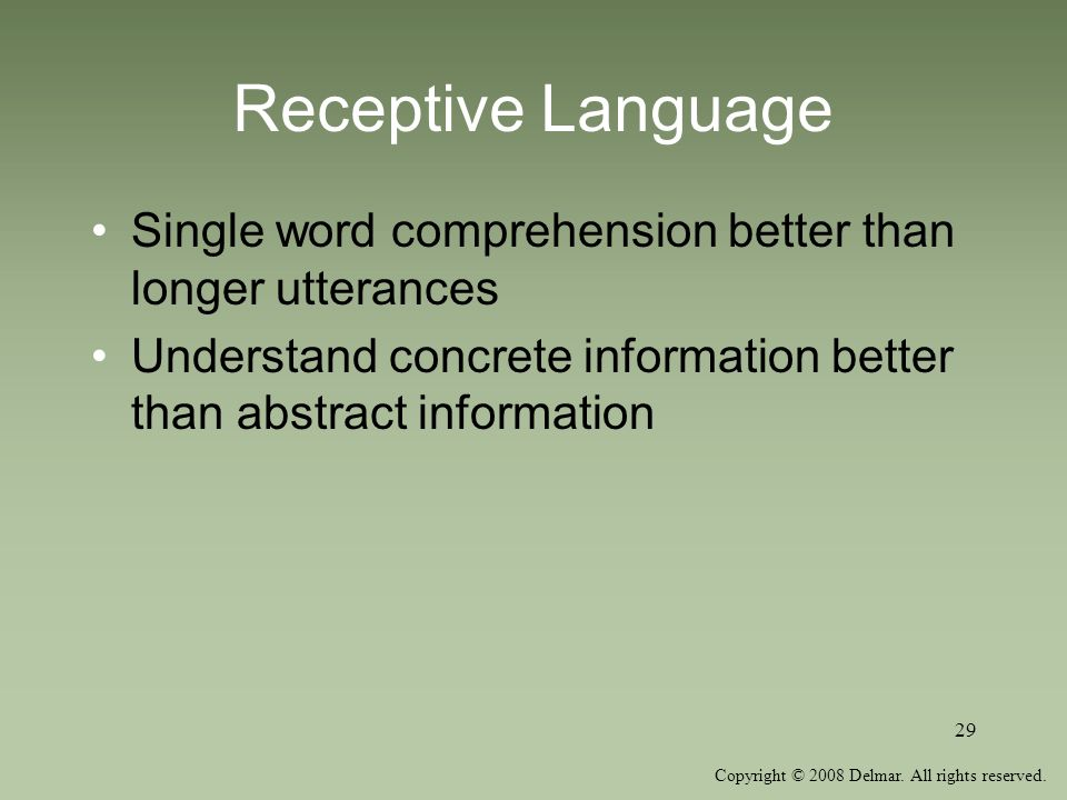 Receptive Language Single word comprehension better than longer utterances.