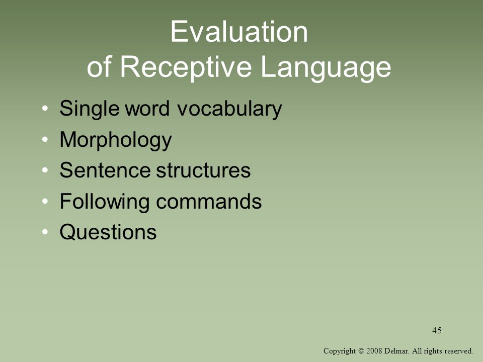 Evaluation of Receptive Language
