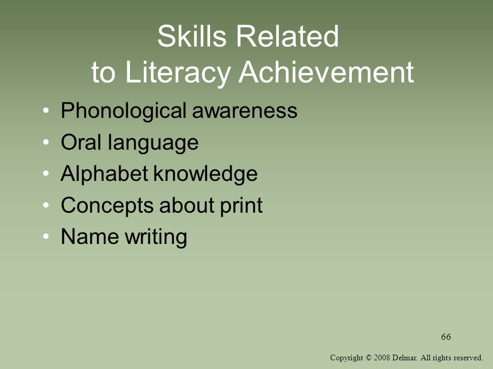 Skills Related to Literacy Achievement