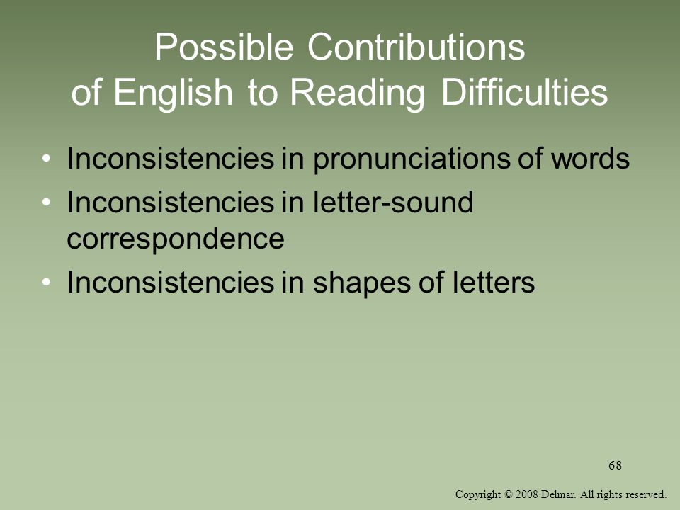 Possible Contributions of English to Reading Difficulties