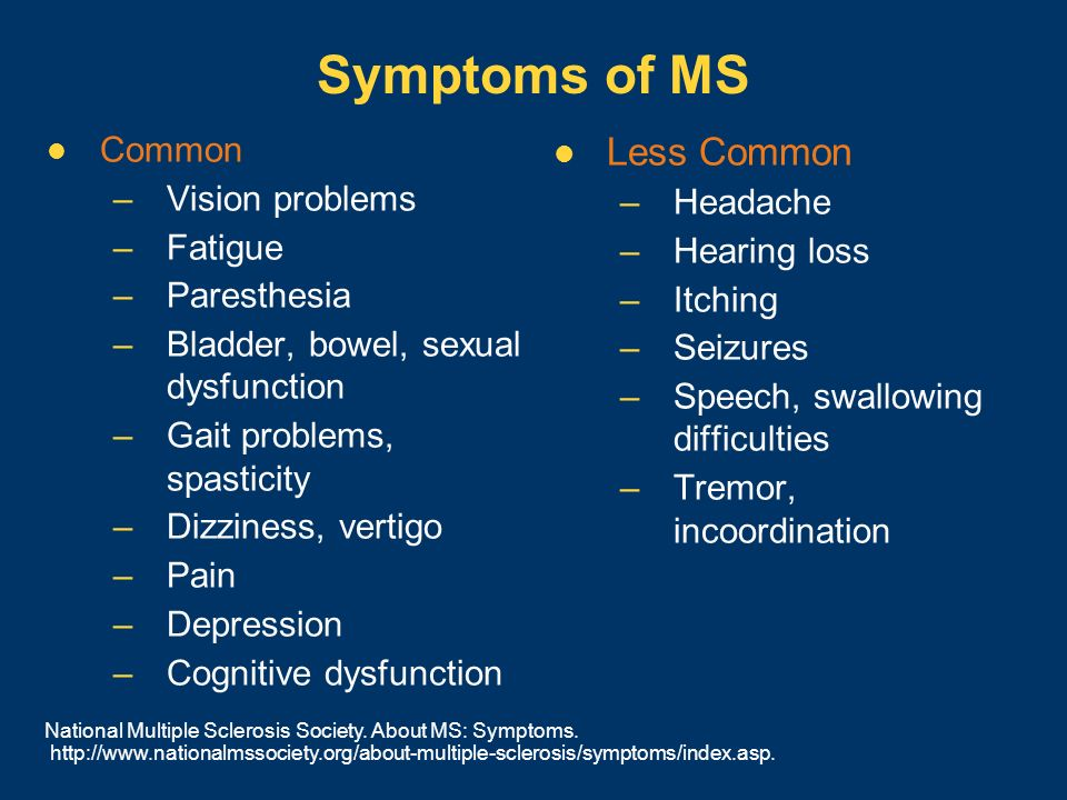 Symptoms of MS Less Common Common Vision problems Headache Fatigue