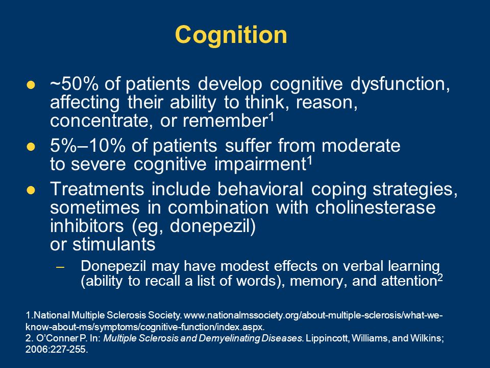 Cognition~50% of patients develop cognitive dysfunction, affecting their ability to think, reason, concentrate, or remember1.