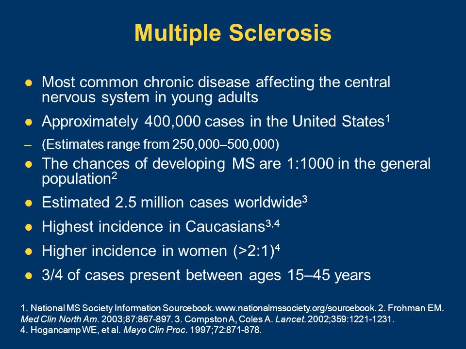 Multiple Sclerosis Most common chronic disease affecting the central nervous system in young adults.