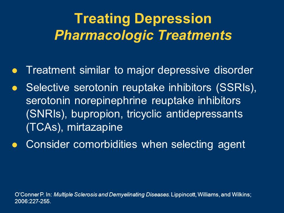 Treating Depression Pharmacologic Treatments