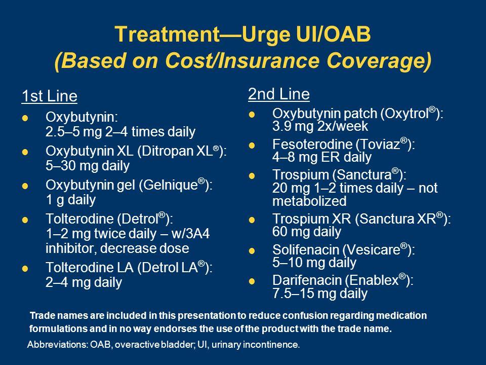 Treatment—Urge UI/OAB (Based on Cost/Insurance Coverage)
