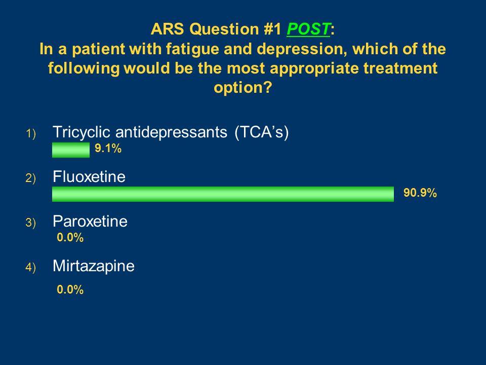 Tricyclic antidepressants (TCA's) Fluoxetine Paroxetine Mirtazapine
