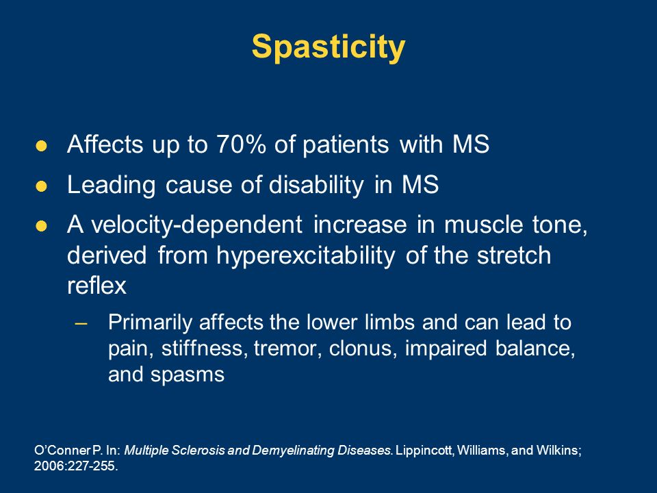 Spasticity Affects up to 70% of patients with MS