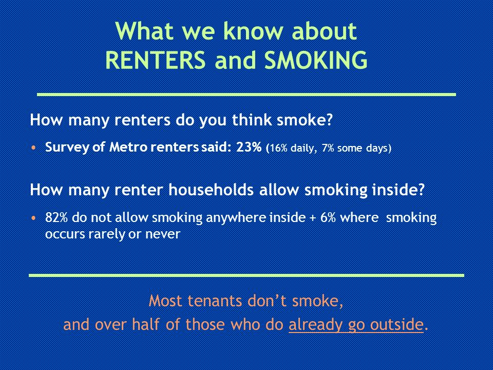 What we know about RENTERS and SMOKING