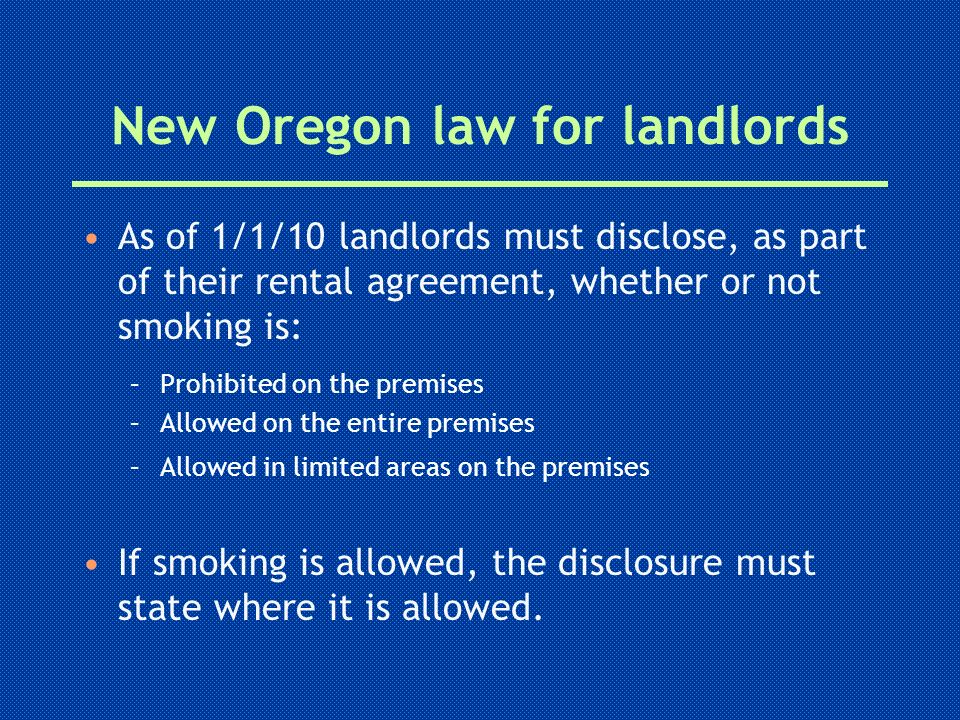 New Oregon law for landlords