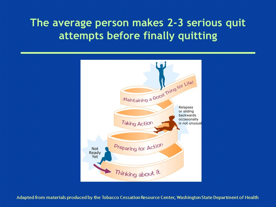 The average person makes 2-3 serious quit attempts before finally quitting