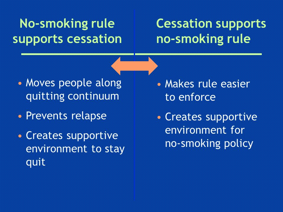 No-smoking rule supports cessation