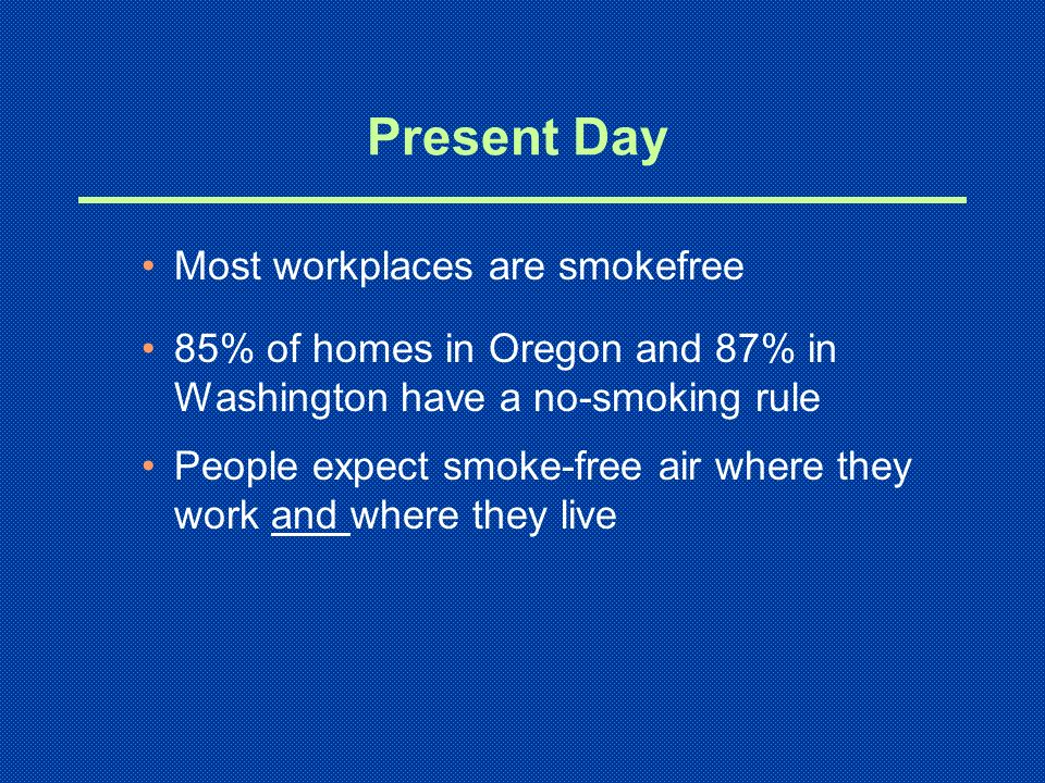 Present Day Most workplaces are smokefree